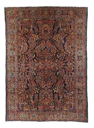 """Persian navy Sarouk rug,  6'2"""" x 9'"""