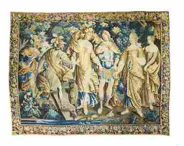 "French Antique Tapestry, 9'1"" x 12'4"""