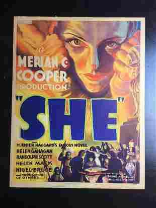 She - Merian Cooper (1935) US Window Card Movie Poster