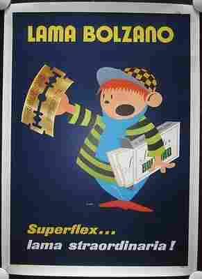 """Lama Bolzano - Art by Ciac (1950) 39.5"""" x 55.5"""" Italian"""