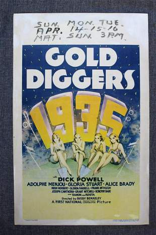 Gold Diggers 1935 (1935) US Window Card Movie Poster