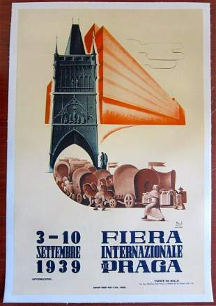 """Fiera Internazionale Di Praga (1939) 24.75"""" x 37.25"""""""