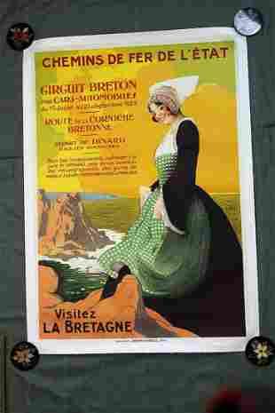 "Chemins De Fer de L'etat Visitez la Bretagne (1920) 40"""