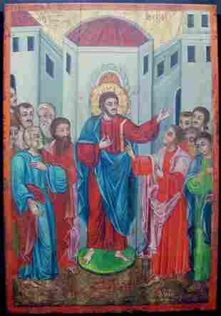 Large Religious Antique Greek Icon of Doubting Thomas,