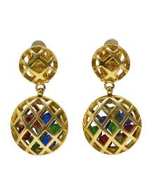 Chanel Earrings with Hanging Caged Multicolored Beads