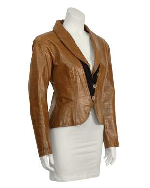 Ungaro Brown Croc Embossed Brown Leather Jacket