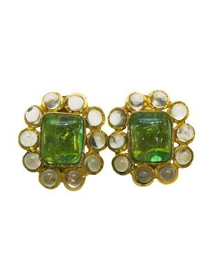Chanel Poured glass and gold plate clips