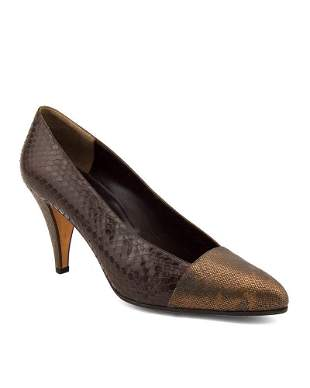 Andrea Pfister Bronze and Brown Snakeskin Pumps