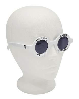 Chanel White Chanel Paris Round Sunglasses