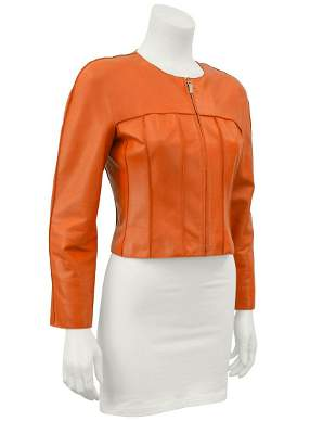 Chanel Orange Cropped Leather Jacket