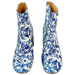MAISON MARGIELA White and Blue Floral Print Leather