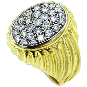 Vintage 18K Yellow Gold and Diamond Cluster Ring