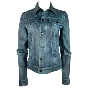 Derek Lam 10 Crosby Blue Leather Jacket, Size 4