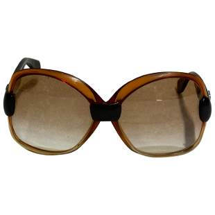 Vintage YSL Brown and Black Square Sunglasses