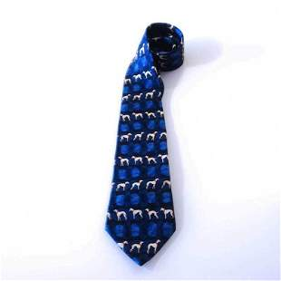 Cerruti 1881 100% Silk Blue Dogs Fun Motif Pattern