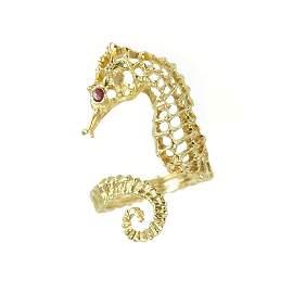 ILIAS LALAOUNIS vintage bypass seahorse ring 18k yellow