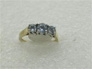 Vintage 10kt Triple Aquamarine Ring, Sz 9., Two-tone,
