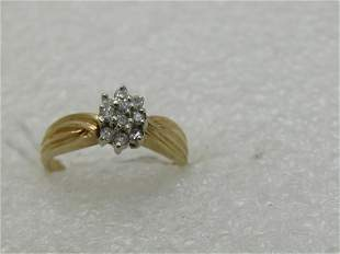 Vintage 10kt Diamond Cluster Ring, Tiered, Sz. 6