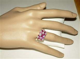 Sterling Ruby/Clear CZ Ring, Vintage Cocktail - Size 8,