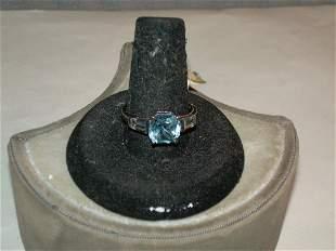 Sterling Silver Blue Topaz Ring - Size 8 - Vintage