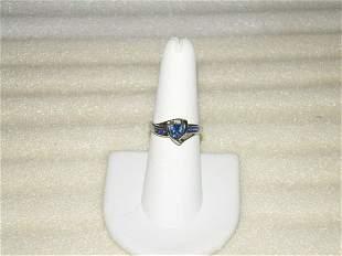 14Kt Diamante Zafiro Anillo-ORO Blanco-Vintage-Talla