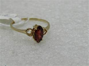 Vintage 10kt Red tourmaline Ring, Marquise, Sz. 6.75,