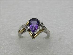 Sterling and 10kt Lab Amethyst & Diamond Ring, Sz.