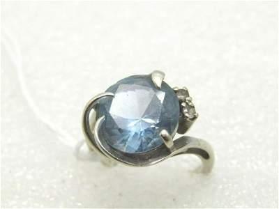 14kt White Gold Blue Stone Ring, Mid-Century, Signed