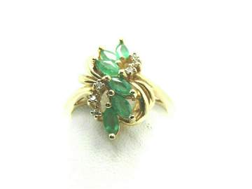 14kt Emerald/Tourma; line Diamond Ring, Marquise