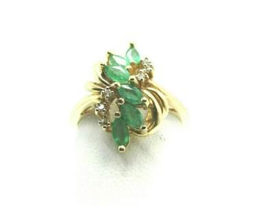 14kt Emerald/Tourma; line Diamond Ring, Marquise