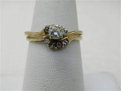 Vintage 18kt Diamond Wedding Set, Size 8.5, Appx. .33