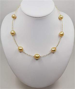 18 kt. Yellow Gold - 11x13mm Golden South Sea Pearls -