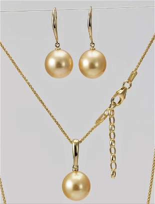 10x11mm Golden South Sea Pearls - 14 kt. Yellow gold -