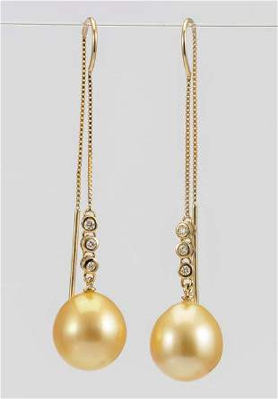 10x11mm Golden South Sea Drops - 14 kt. Yellow gold -