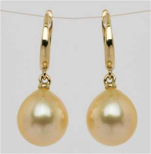 14 kt. Yellow Gold - 10x11mm Golden South Sea Pearl