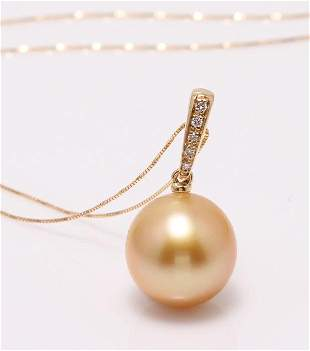 14 kt. Yellow Gold - 11x12mm Golden South Sea Pearl -