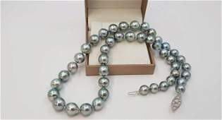 8x10.2mm Silvery Green Tahitian Pearls - 14 kt. White
