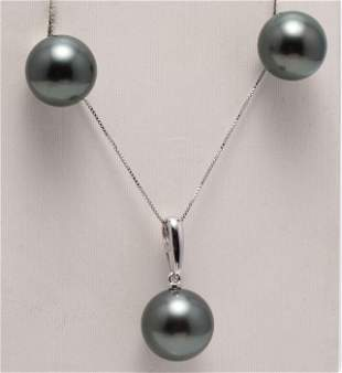 14 kt. White Gold - 11x12mm Peacock Tahitian Pearls -