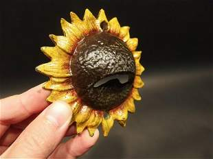 Cast Iron Folk Art Beer Soda Bottle Cap Sunflower