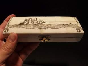 Whale Chase Scrimshaw Etched Bone & Wood Trinket Stamp