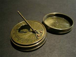 Brass Timekeeping Sundial with Top Pocket Compass Watch