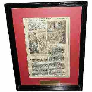 Antique Framed Page from German Book circa 1500's