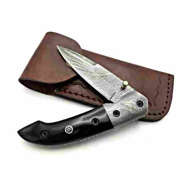 Folding hunting damascus steel knife pocket buffalo