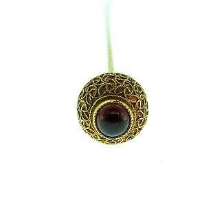 Victorian 10k Yellow Gold Filigree Garnet Pin