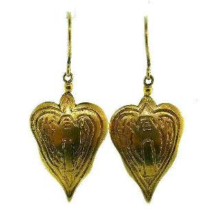 VICTORIAN 14k Yellow Gold Heart Dagger Earrings on Wire