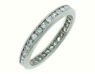 Diamond Platinum Eternity BAND Ring Art Deco Single Cut