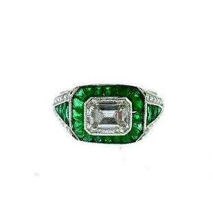 VINTAGE Platinum, Emerald & Diamond Engagement Ring Art