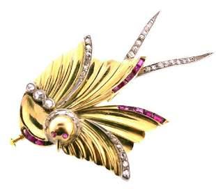 VICTORIAN 14k Yellow Gold, Rose Cut Diamond & Ruby Bird