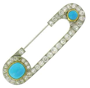 Henri PIQUET Turquoise Diamond Platinum Pin BROOCH Clip