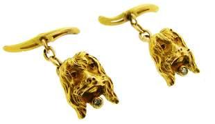 Diamond Yellow Gold CUFFLINKS Spaniel Dog